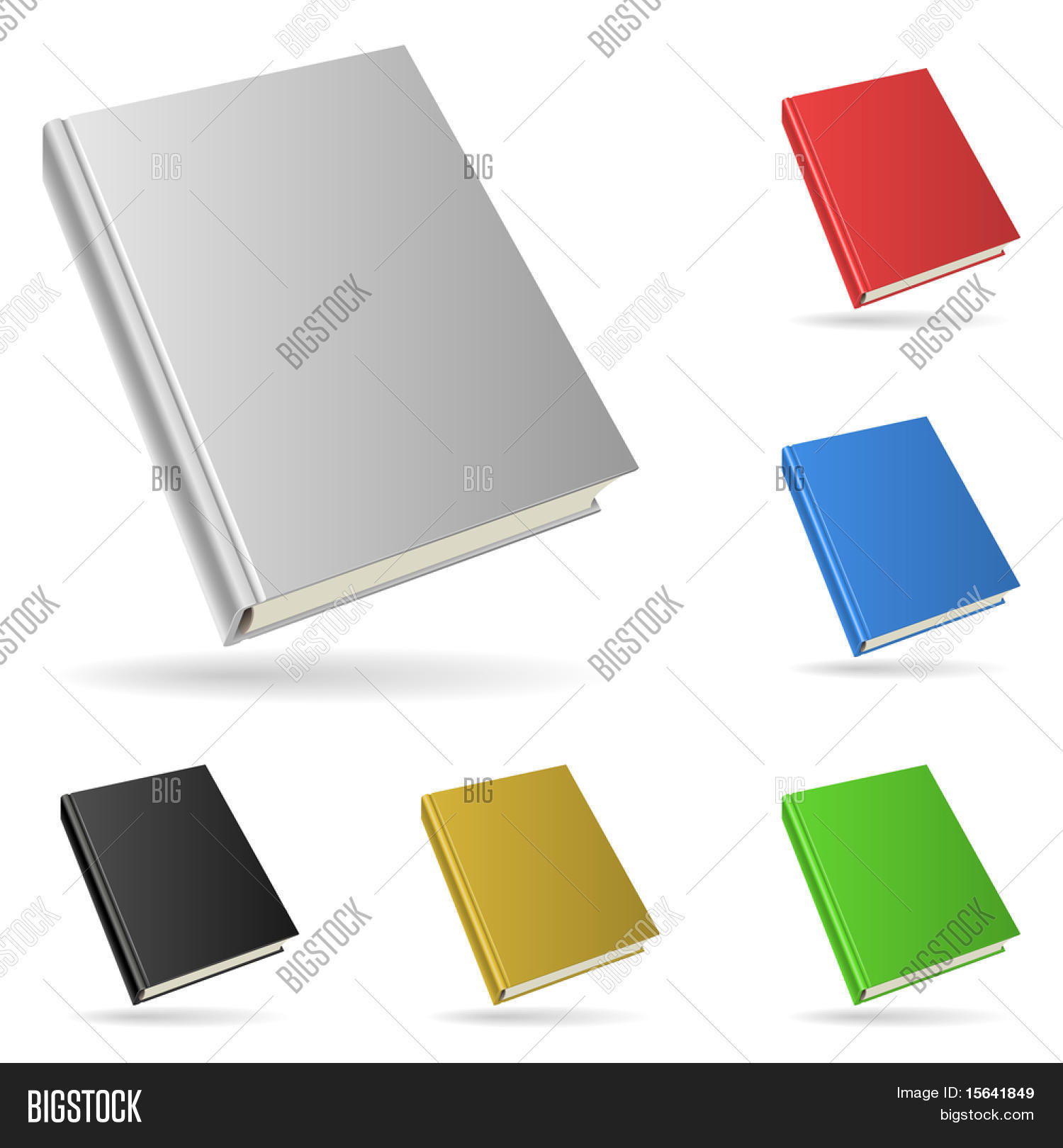 Hardcover book isolated on white background with color variants.