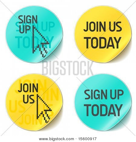 sign up and join us vector website buttons stock photo