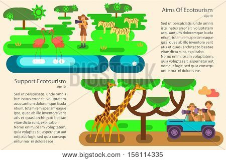 Eco-tourism. 2 horizontal banners of exotic eco rest in modern flat design.  African safari. Place for your text.  Vector illustrations eps10