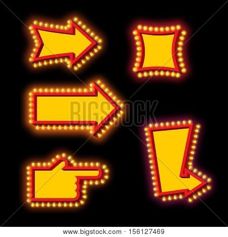 Glowing arrow with blub set. Luminous pointer. Retro cursor with light lamps. Vintage direction marker. Glittering lights stock photo