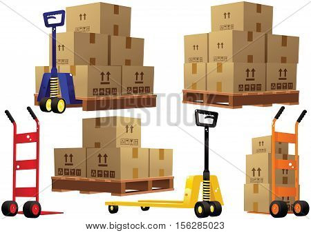 Various illustrations of hand trucks you would find in a modern warehouse, wooden pallets and cardboard boxes. stock photo
