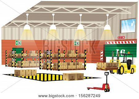 A cutaway illustration of the interior of a modern warehouse building. stock photo