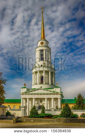 Gate bell tower with St. Nicholas Church and Archbishop's chambers Zadonsk Lipetsk oblast Russia stock photo