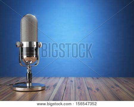 Retro old microphone. Radio show or audio podcast concept. Vintage microphone on blue background. 3d