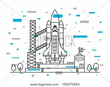 Space shuttle vector illustration. Spaceship on space-vehicle launching site space centre cosmodrome spacedrome. Spacecraft crative line art concept. Rocket ready to start outline design. stock photo