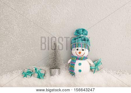 XMAS Design Ornament. Christmas background decoration Handmade. Happy Snowman, Christmas holiday Gift boxes. Snowflakes, Fir. New Year 2017. Festive Art christmas Greeting Card. Retro Vintage
