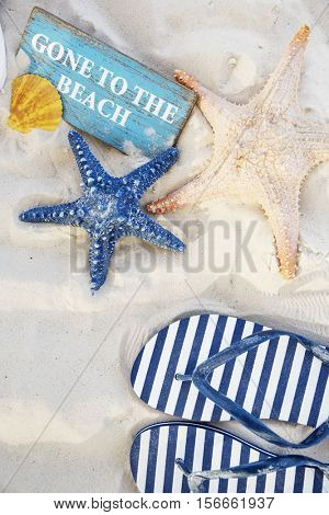 Gone to the Beach Summer Holiday Vacation Starfish Flip Flop Sandals Concept-Lg Fridge Magnet Skin (size 36x65)