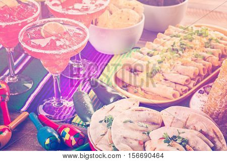Fiesta party buffet table with traditional Mexican food. stock photo