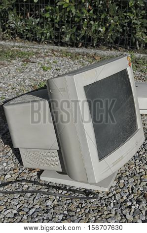 View of a cathode ray tube monitor stock photo
