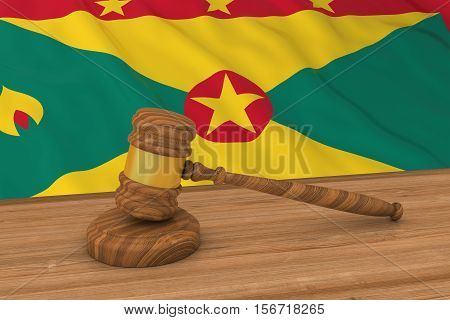 Grenadian Law Concept - Flag of Grenada Behind Judge's Gavel 3D Illustration stock photo