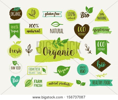 Bio, Ecology, Organic logos and icons, labels, tags. Hand drawn bio healthy food badges, set of raw,