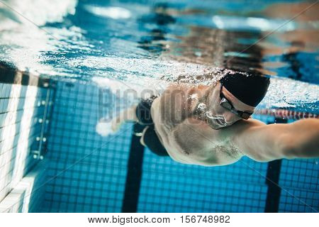 Fit swimmer training in the swimming pool. Professional male swimmer inside swimming pool. stock photo