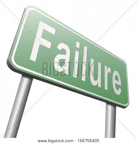 failure fail exam or attempt can be bad especially when failing an important job task or in your study failing an exam.  3D illustration, isolated, on white  stock photo