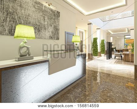 Modern design reception area for meeting registration and hotel visitors. 3D render. stock photo