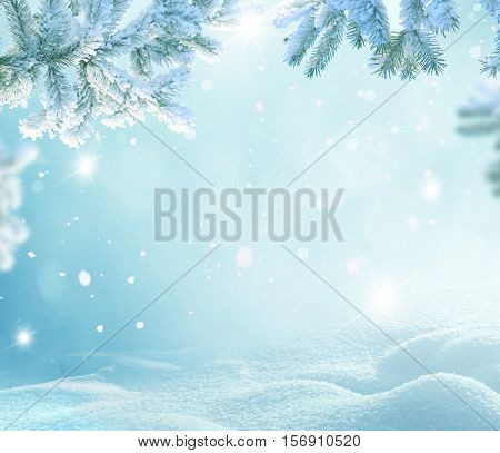 Winter Christmas background with fir tree branch  Merry Christmas and happy New Year greeting card w