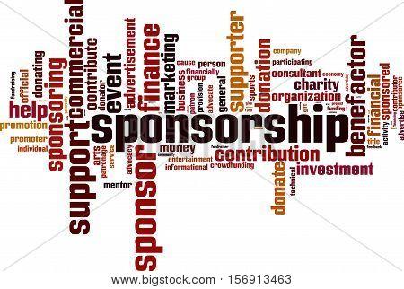 Sponsorship word cloud concept. Vector illustration on white stock photo