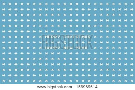 Blue Ascii Art Retro Computer Christmas Card With White