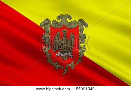 Flag of Palermo is a city in Insular Italy the capital of both the autonomous region of Sicily and the Metropolitan City of Palermo. 3d illustration