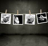 Pictures of an infant and mother in a darkroom