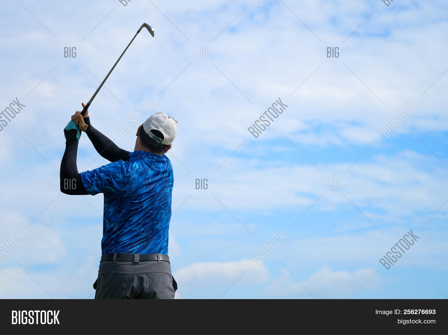 Golfer Hitting Golf Shot With Club On Course Vintage Color Tone, Man Playing Golf On A Golf Course I