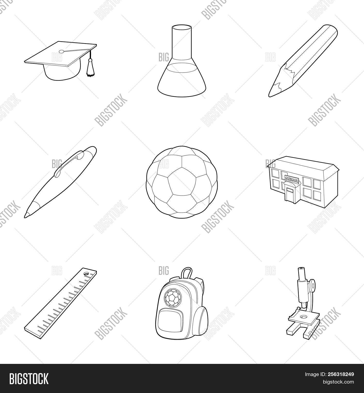 Schoolhouse icons set. Outline illustration of 9 schoolhouse icons for web