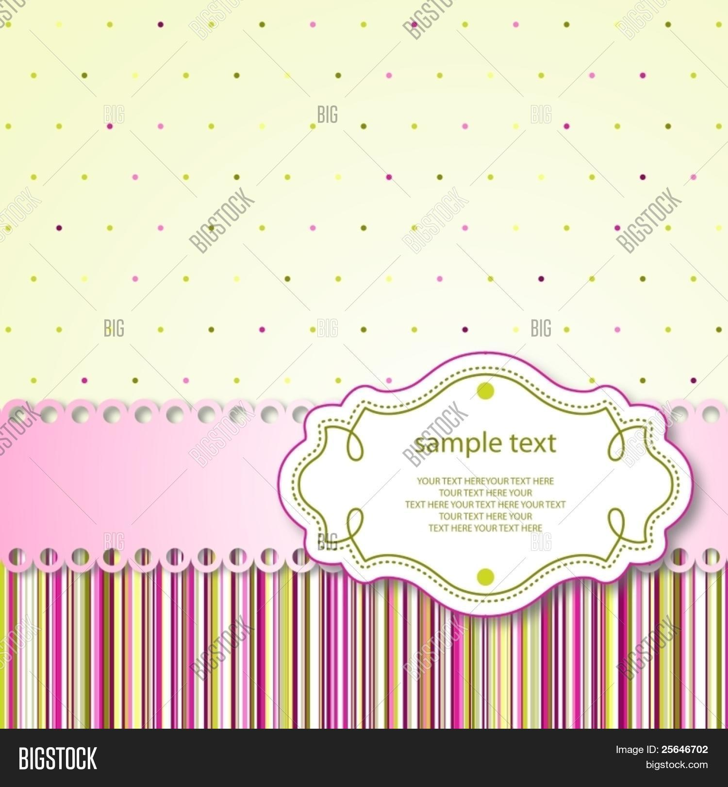 Cute Template Frame Design For Greeting Card Raster Version Also