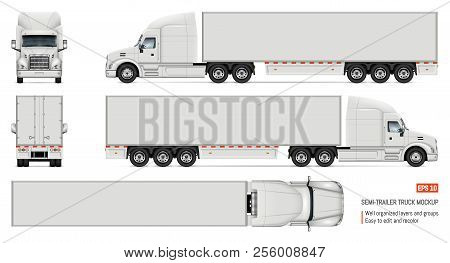 Semi trailer truck vector mockup for car branding and advertising. Isolated lorry Cargo vehicle set on white background. View from side, front, back, top stock photo