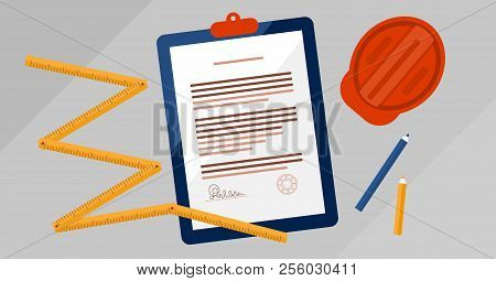 Contractors license agreement signed and stamped document vector illustration. Real estate construction business legal documentation. Top view concept with paper, measurement tool, helmet and pencils. stock photo