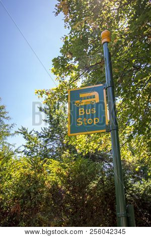 Country bus stop. Rural sign post painted yellow and green with the picture of a bus. Quirky countryside bus stop. stock photo