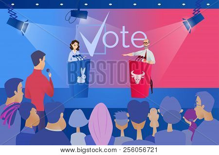 Open Debates Before Vote Cartoon Vector Concept with Leaders of Opposing Political Parties Conducting Intense Discussion on Public Debates, Responding on Journalists Question During Election Campaign stock photo