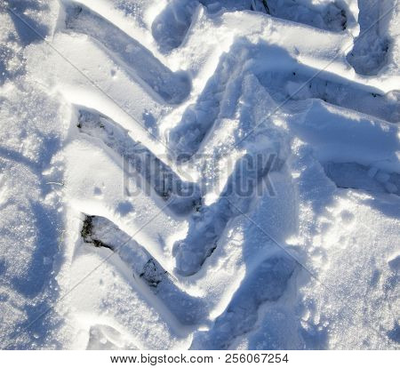 traces of the tread of a car or tractor in the snow , Small depth of field, Photo close-up in the winter season stock photo