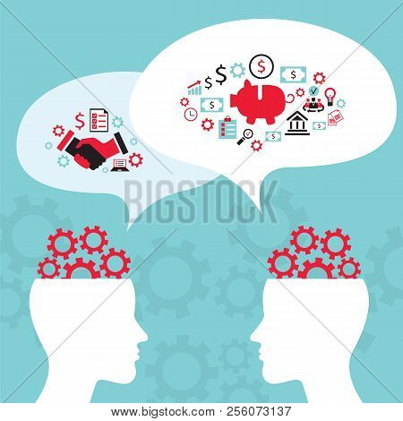 Businessman conversation, process of creating an idea. Successful business and partnership concept. Vector illustration stock photo