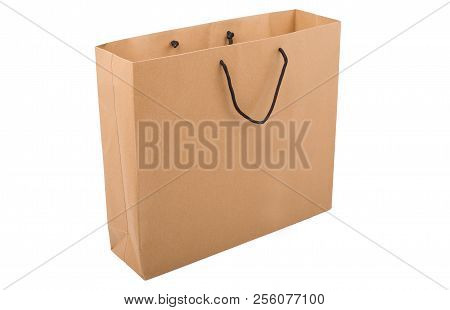 Shopping paper, bag on a white background.  Brown bag, isolated on white. stock photo