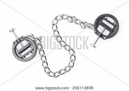 black fetish nipple clamps with chain isolated on white background stock photo