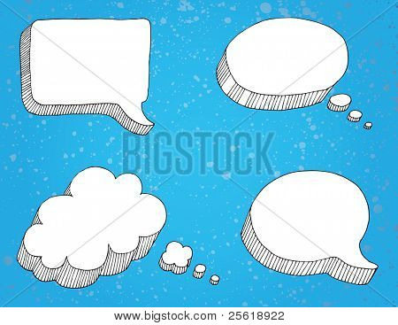 Selection of thought bubbles, separate from background. stock photo