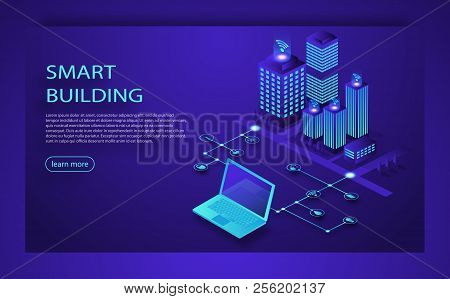 Smart city or intelligent building isometric vector. Smart building Isometric concept. Automation control system of intelligent building Engineering systems, video surveillance. 3D smart building. stock photo