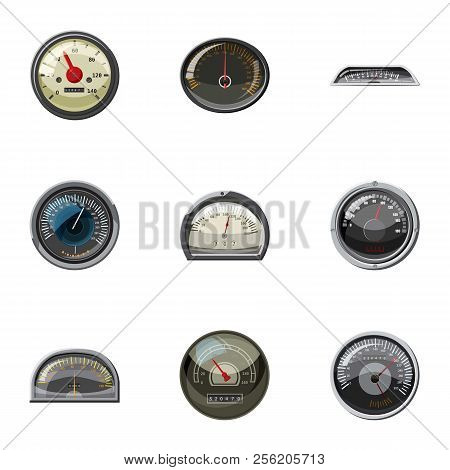 Types of speedometers icons set. Cartoon illustration of 9 types of speedometers icons for web stock photo