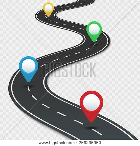 Highway Roadmap With Pins. Car Road Direction, Gps Route Pin Road Trip Navigation And Roads Business