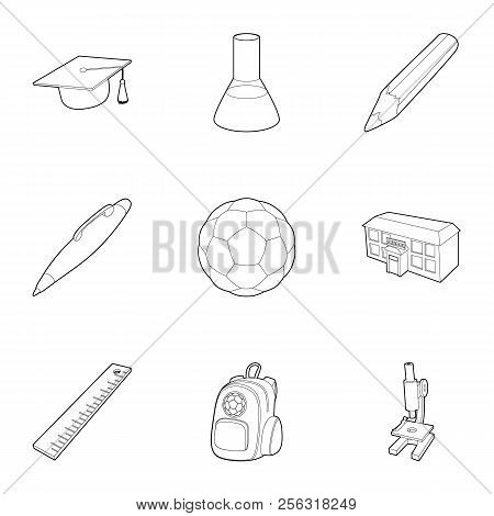 Schoolhouse icons set. Outline illustration of 9 schoolhouse icons for web stock photo