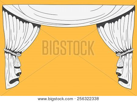 Hand Drawn Stage Curtains On Yellow Background Vector Image stock photo