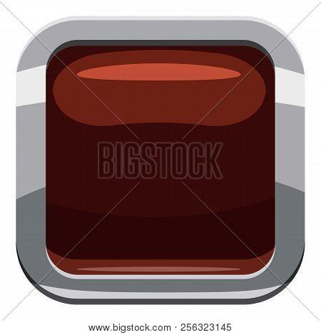 Chocolate square button icon. Cartoon illustration of square button icon for web design stock photo