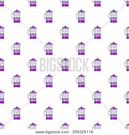 French press coffee maker pattern. Cartoon illustration of french press coffee maker pattern for web stock photo