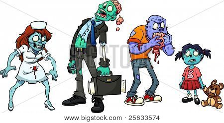 Four cartoon zombies. Vector illustration with simple gradients. Each in  a separate layer for easy