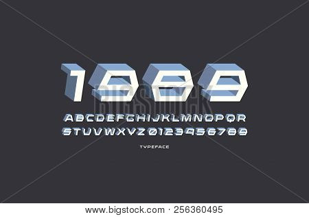 Decorative sans serif bulk font. Letters and numbers for sci-fi, military, retro logo and title design. Color print on black background stock photo