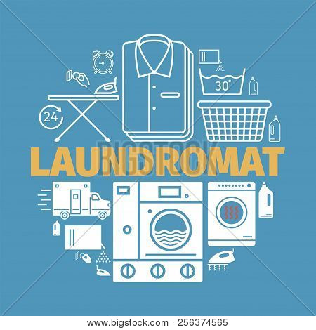 Laundromat banner. Dry cleaning services Vector illustration. stock photo