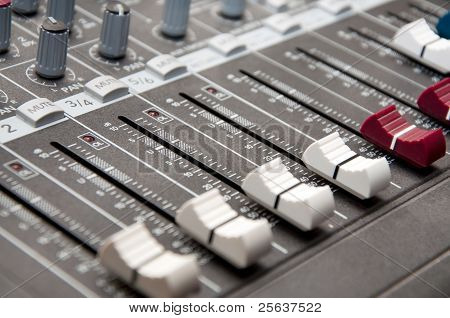 close up shot of sound mixer in studio - shallow DOF stock photo