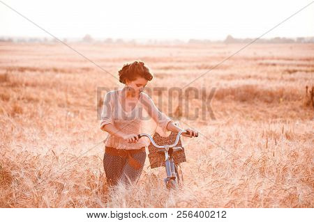 A beautiful girl in a golden rye field romantically comes with a bicycle on which gifts and looking on the bike stock photo