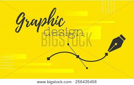 Graphic design. Pen tool cursor. Vector computer graphics. banner for designer or illustrator. The curve control points. stock photo