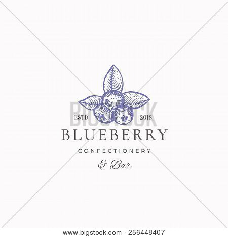 Blueberry Confectionary Abstract Vector Sign, Symbol or Logo Template. Hand Drawn Blueberry Sketch Sillhouette with Elegant Retro Typography. Vintage Luxury Emblem. stock photo