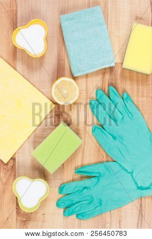 Accessories and natural detergents for cleaning different surfaces and rooms at home, concept of household duties stock photo